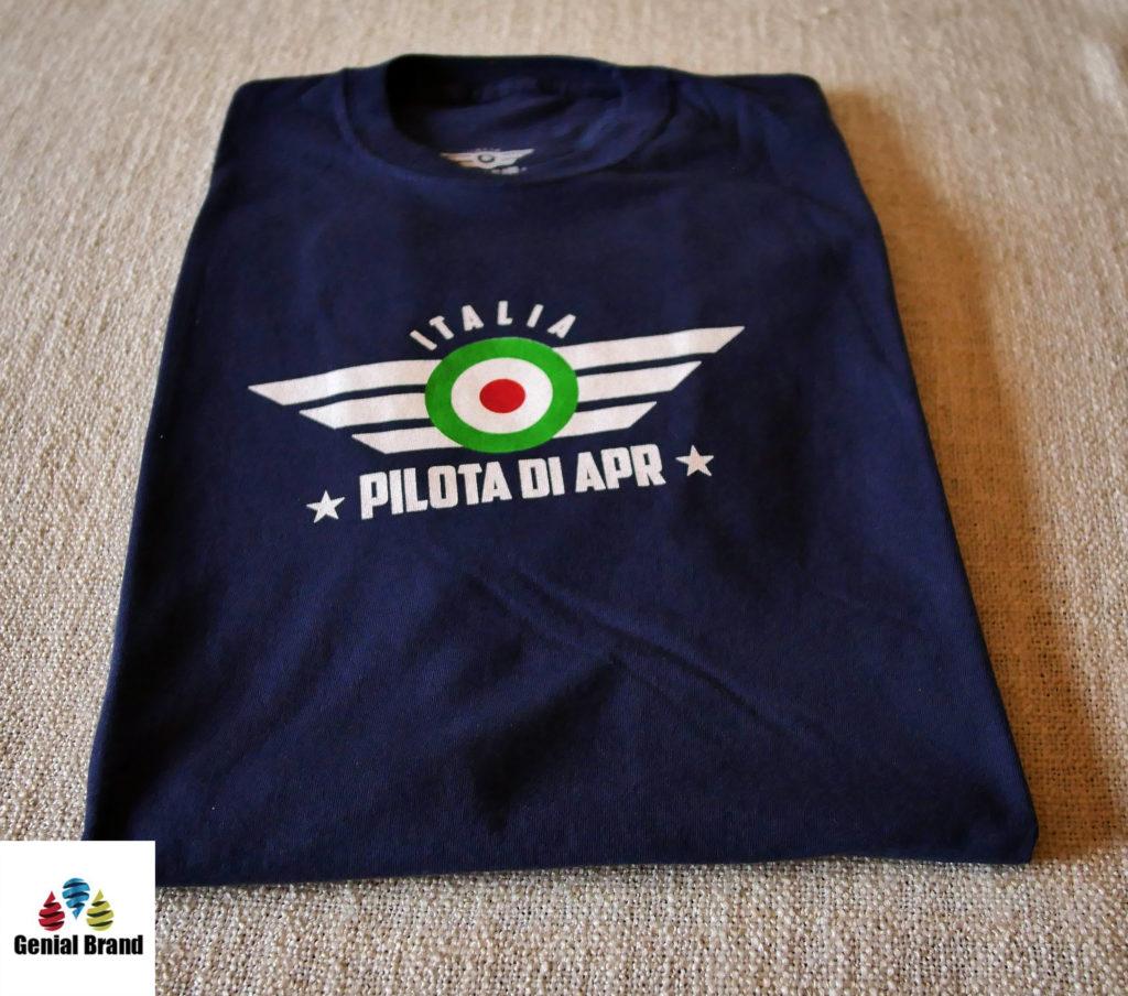 t-shirt drone pilota APR fronte blu